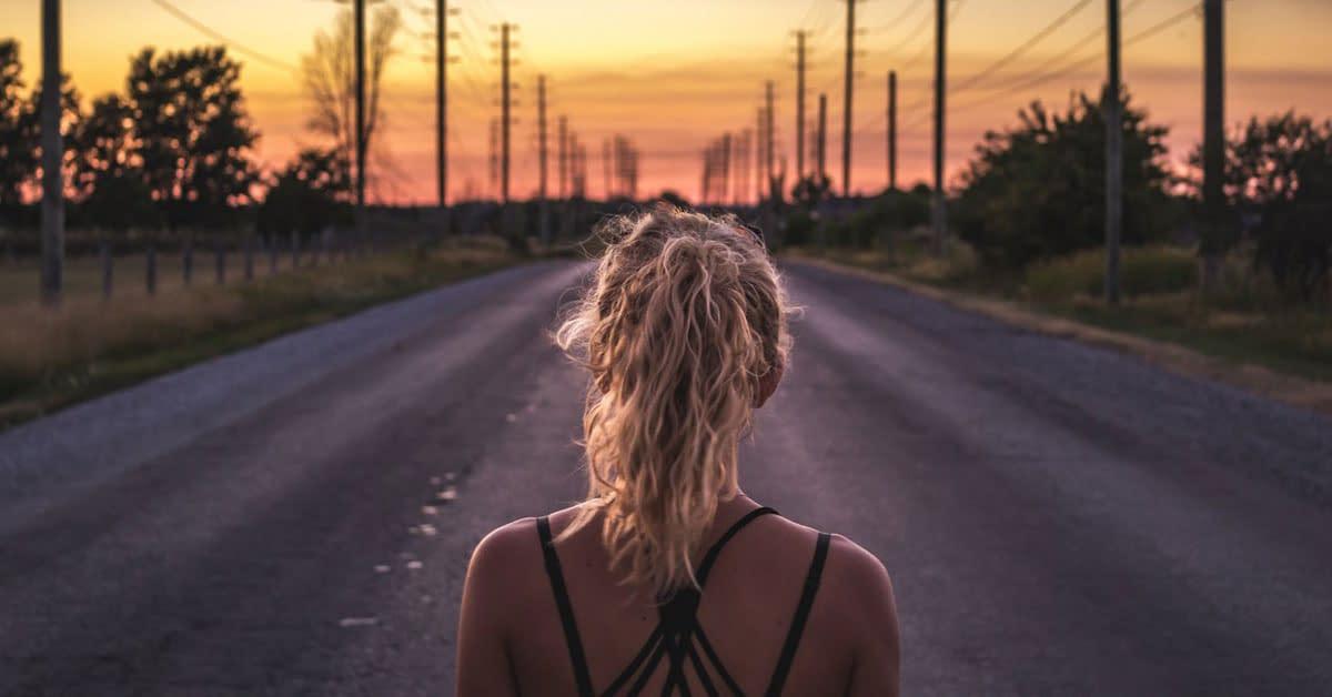 runner road sunset